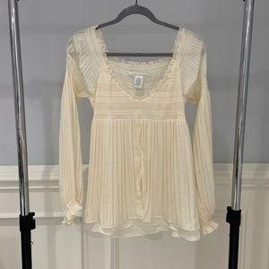 Diane Von Furstenberg Long Sleeve Ruffle Blouse